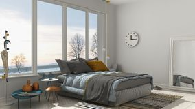 Colored modern white bedroom with big panoramic window, sunset, Stock Photo