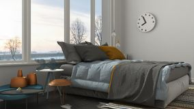 Colored modern white bedroom with big panoramic window, sunset, Royalty Free Stock Photos