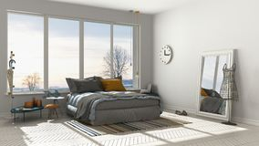 Colored modern white bedroom with big panoramic window, sunset, Royalty Free Stock Image
