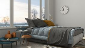 Colored modern white bedroom with big panoramic window, sunset, Royalty Free Stock Photography