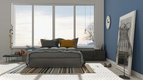 Colored modern white and blue bedroom with big panoramic window, Royalty Free Stock Photography
