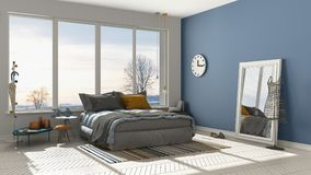 Colored modern white and blue bedroom with big panoramic window, Stock Image