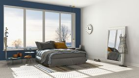 Colored modern white and blue bedroom with big panoramic window, Stock Photo