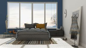 Colored modern white and blue bedroom with big panoramic window, Royalty Free Stock Photos