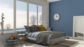 Colored modern white and blue bedroom with big panoramic window, Stock Photography