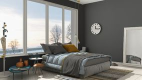 Colored modern white and gray bedroom with big panoramic window, Stock Images