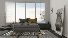 Colored modern white and gray bedroom with big panoramic window, Stock Photos