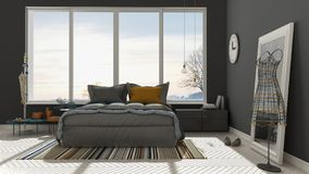 Colored modern white and gray bedroom with big panoramic window, Royalty Free Stock Images
