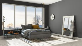 Colored modern white and gray bedroom with big panoramic window, Royalty Free Stock Photography