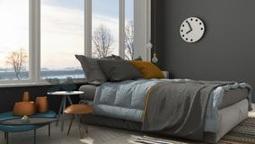 Colored modern white and gray bedroom with big panoramic window, Royalty Free Stock Photos
