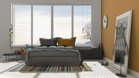 Colored modern white and orange bedroom with big panoramic windo Stock Photo