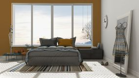 Colored modern white and orange bedroom with big panoramic windo Stock Image