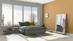 Colored modern white and orange bedroom with big panoramic windo Royalty Free Stock Images