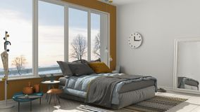 Colored modern white and yellow bedroom with big panoramic windo Royalty Free Stock Images