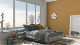 Colored modern white and yellow bedroom with big panoramic window, sunset, sunrise, architecture minimalist interior design vector illustration