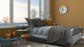 Colored modern yellow bedroom with big panoramic window, sunset, Royalty Free Stock Image