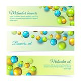 Colored molecule banners 3d set royalty free illustration