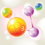 Colored molecules and atoms. Color molecules and they are strong links between Stock Photo