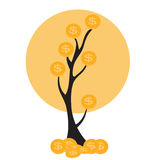 Colored Money Tree, Dependence of Financial Growth Flat Concept. Vector Illustration. EPS10 Stock Photos