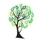 Colored Money Tree, Dependence of Financial Growth Flat Concept. Vector Illustration. EPS10 Stock Image
