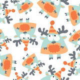 Colored moose in retro style, seamless pattern,  Stock Photo