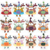 Colored moose in retro style, set,  Stock Image
