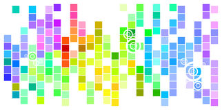 Colored Mosaic. Abstract Mosaic Rainbow Colored Rectangles Tilted With Circles On White Background Royalty Free Stock Photo