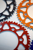 Colored motorcycle sprockets Stock Image