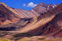 Colored mountains on the way to the summit of Aconcagua royalty free stock photos