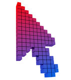 Colored mouse cursor arrow. Gradient from red to b. Lue. 3D image royalty free illustration