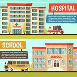 Colored Municipal Buildings Banner Set. Two horizontal colored orthogonal municipal buildings banner set with hospital and school buildings vector illustration Stock Images