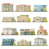 Colored Municipal Buildings Icon Set vector illustration