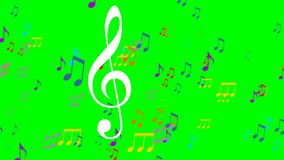 Colored music animation on green screen. Flying colorful music notes, white treble clef symbol floats in the foreground. EPS 10 stock video