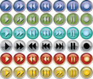 Colored music buttons. Colored buttons for the music bar, additional eps 8.0 Stock Images