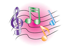 Colored music notes Stock Photos