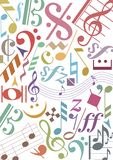 Colored music notes. Background out of music notes and signs in different colors. Available as Illustrator-File Royalty Free Stock Photo