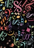 Colored music signs on black Royalty Free Stock Photos