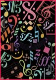 Colored music signs on black Royalty Free Stock Images