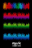 Colored music spectrum set Royalty Free Stock Photo