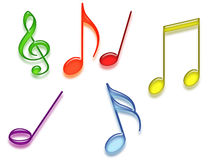 Colored music symbols Royalty Free Stock Photography
