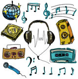 Colored musical stuff. Vector illustration Stock Photos