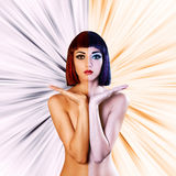 Colored naked woman. Beautiful naked woman holding something on hands. Colored as hot and cold. abstract background Royalty Free Stock Photo