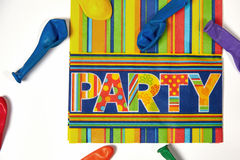 Colored napkin and ballons Stock Photography