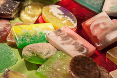 Colored natural aromatic soaps. Colored natural aromatic soap is very tasty looking Royalty Free Stock Image