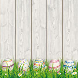 Colored Nature Easter Eggs Grass Woden Background Stock Photos