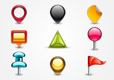 Colored navigation signs. On white background Stock Photo