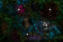 Colored nebula sparkle Stock Images