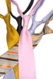 Colored neck ties. Isolated on the white royalty free stock image