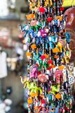 Colored colored necklaces displayed in a Greek shop. During a tourist trip in the Mediterranean Sea stock image