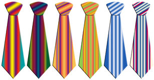 Colored neckties. Six neckties in different colors and patterns Stock Photo